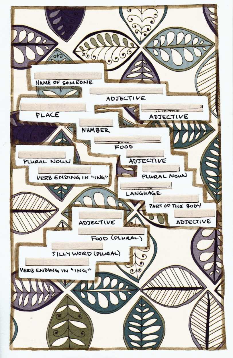 """Mad Libs® card. Title: """"Letter to a friend back home"""""""