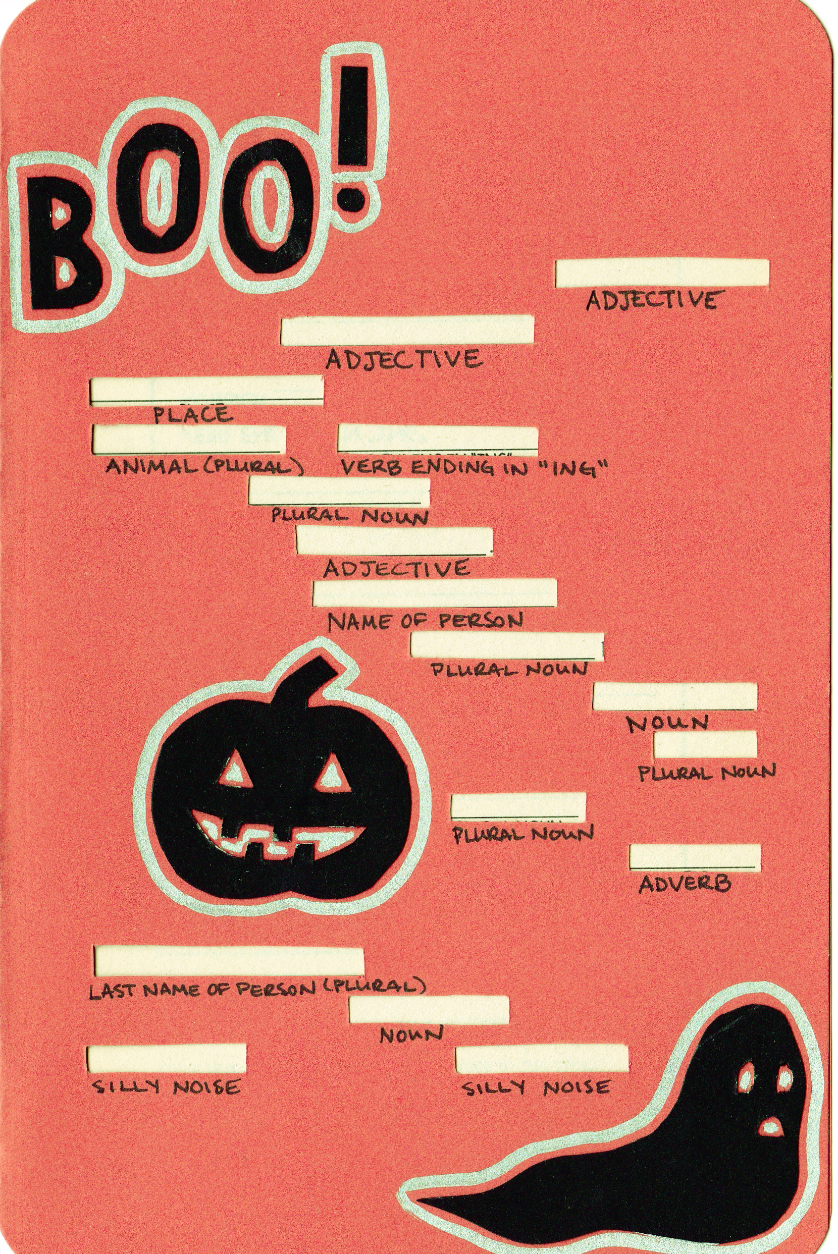"""Halloween Mad Libs®.  Title: """"Ghost Story"""""""