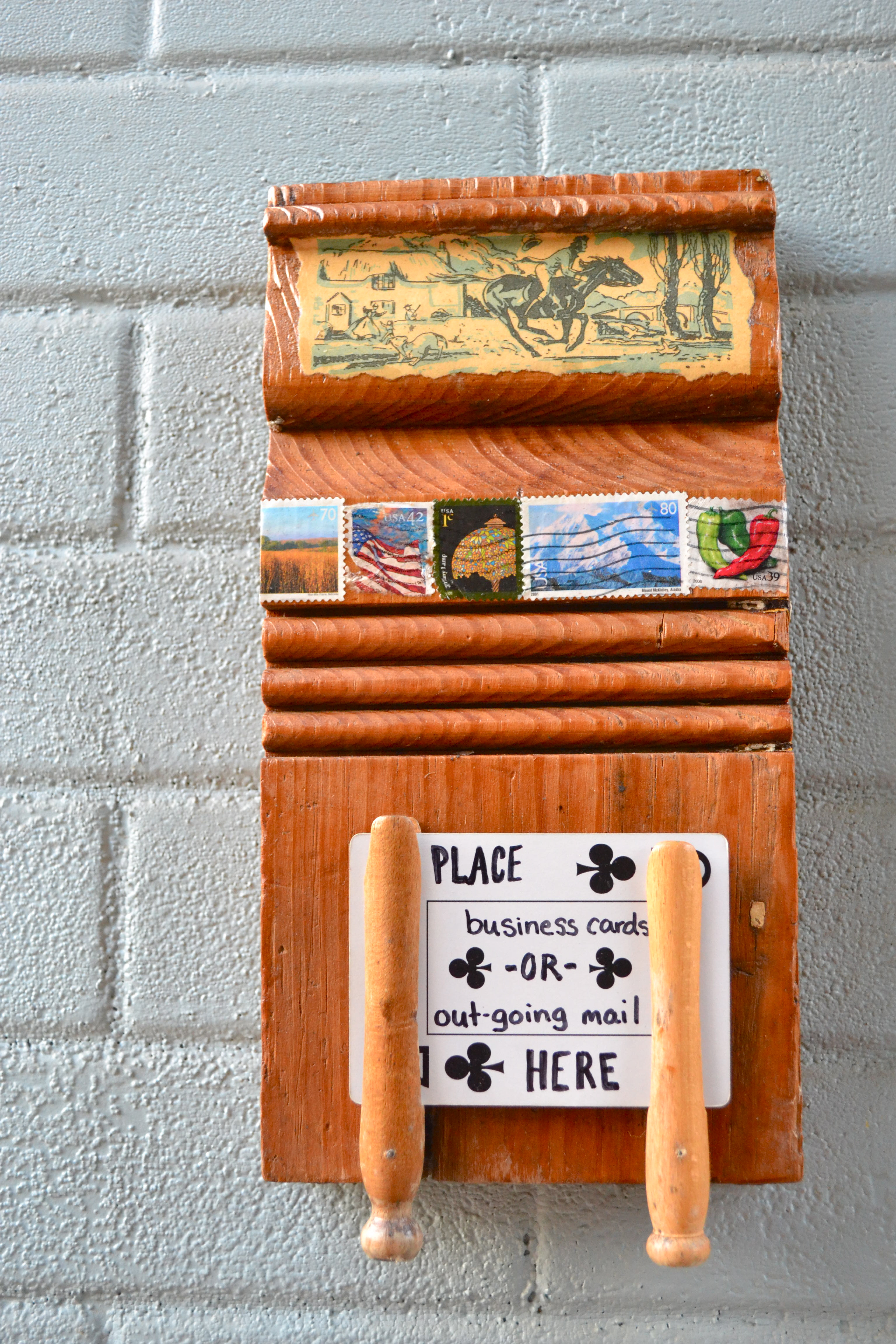 Stamp Outgoing Mail/Business Card holder