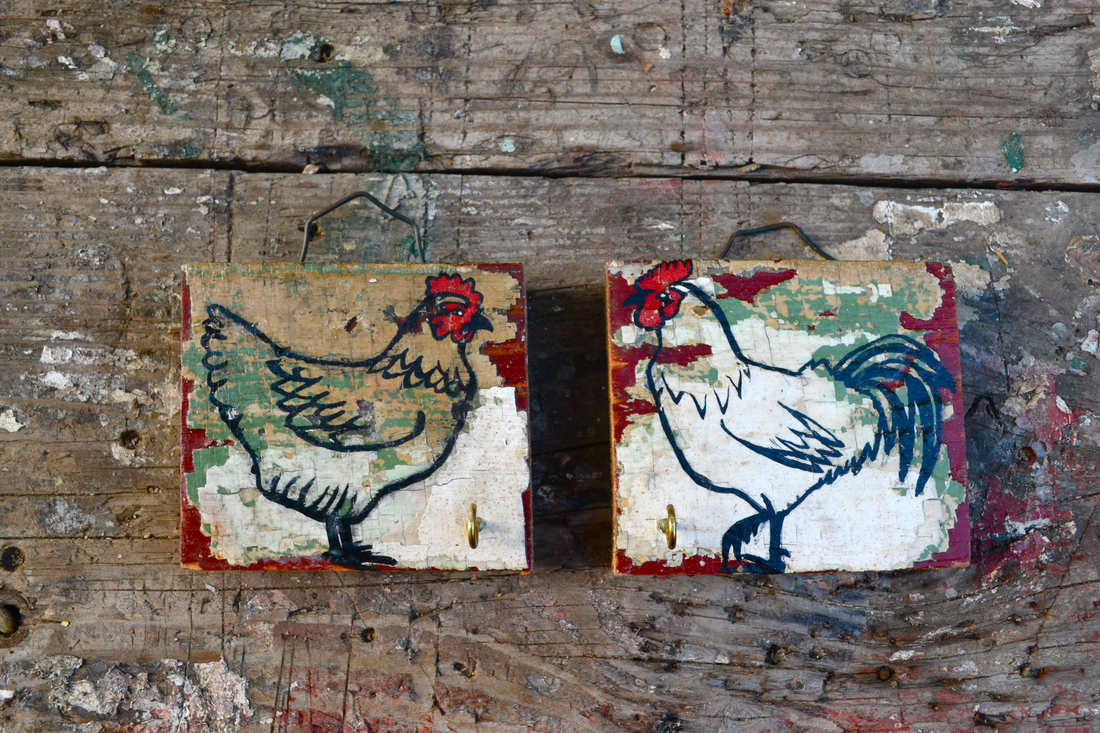 Pair of Chickens key holders