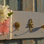 3 Gold Hooks and Pink Glass vase and hanger