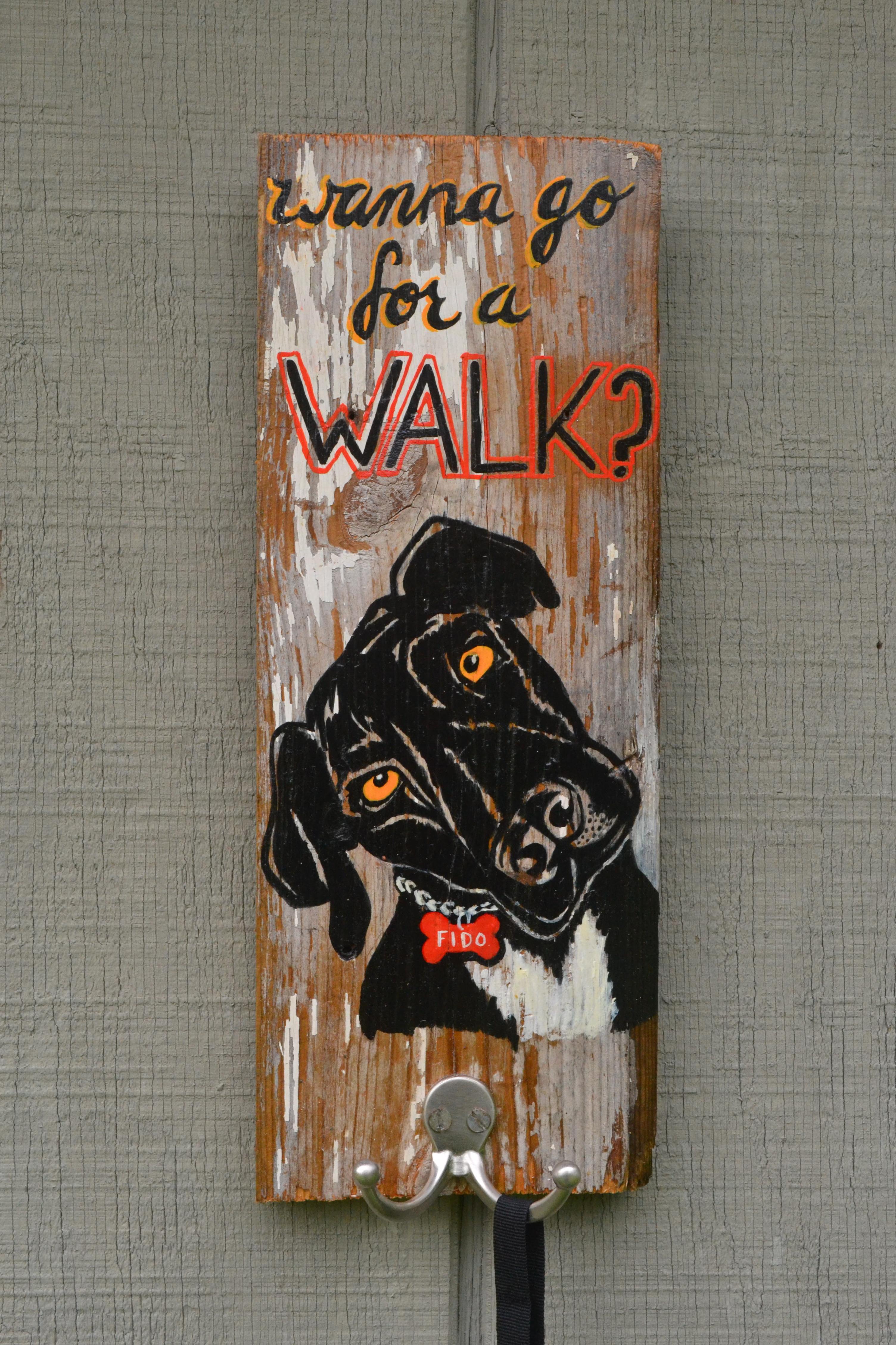 Wanna go for a WALK? leash hanger