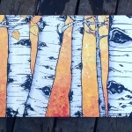 Aspens on wood