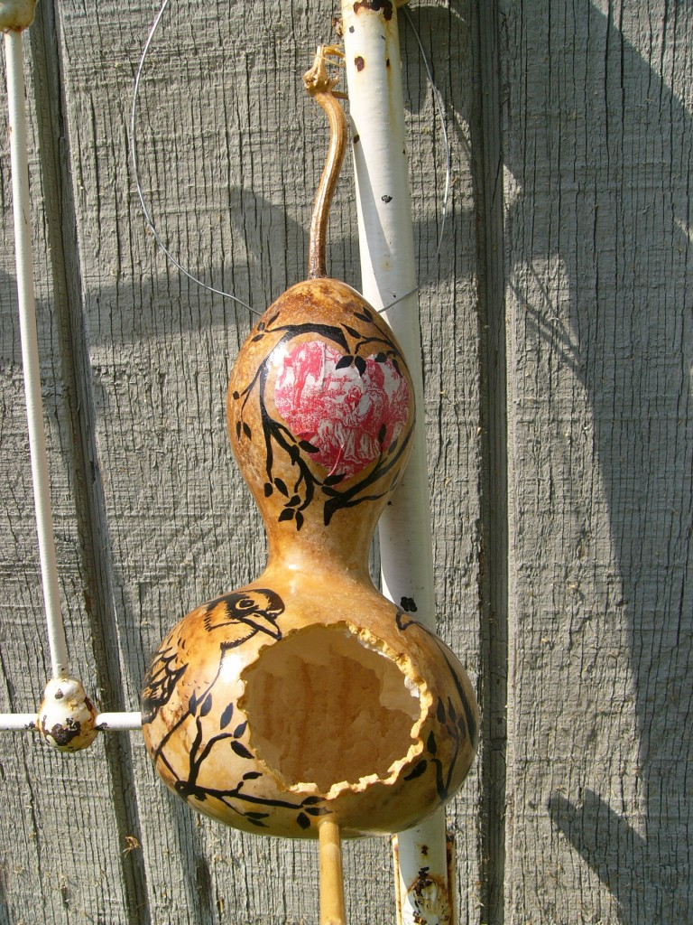 Hand-Painted and Decoupaged Gourd bird house