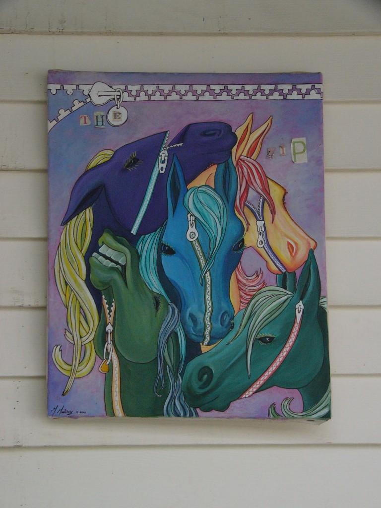 Zipper Face Horses painting