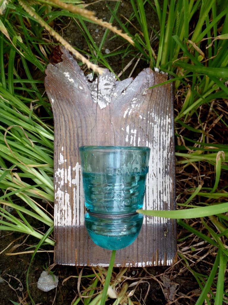 Blue Glass Insulator vase/candelabra