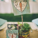 Succulent centerpiece with table assignment/party favor