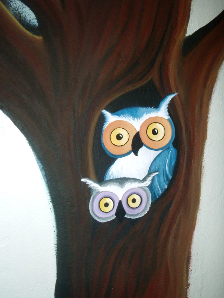 Owls in tree mural (unfinished)