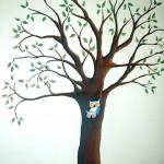 Owls in tree mural